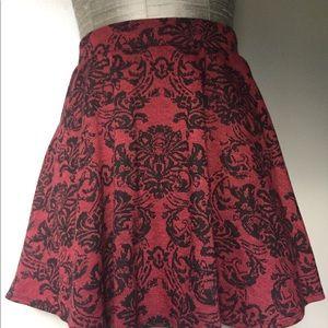 Black and Burgundy Skater Skirt